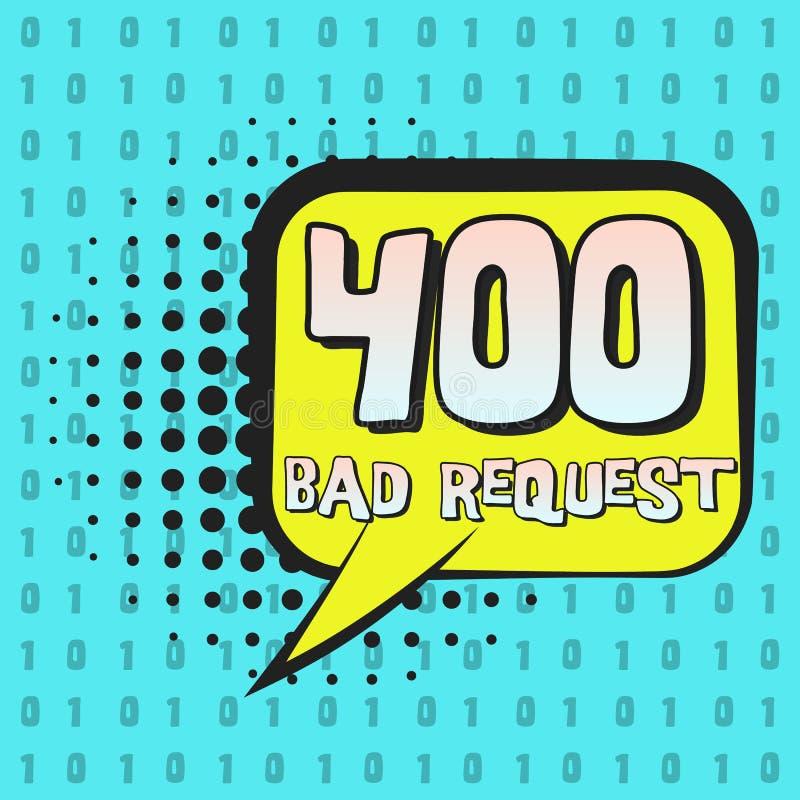 Retro fumetto con l'errore della pagina di Internet 400 illustrazione vettoriale