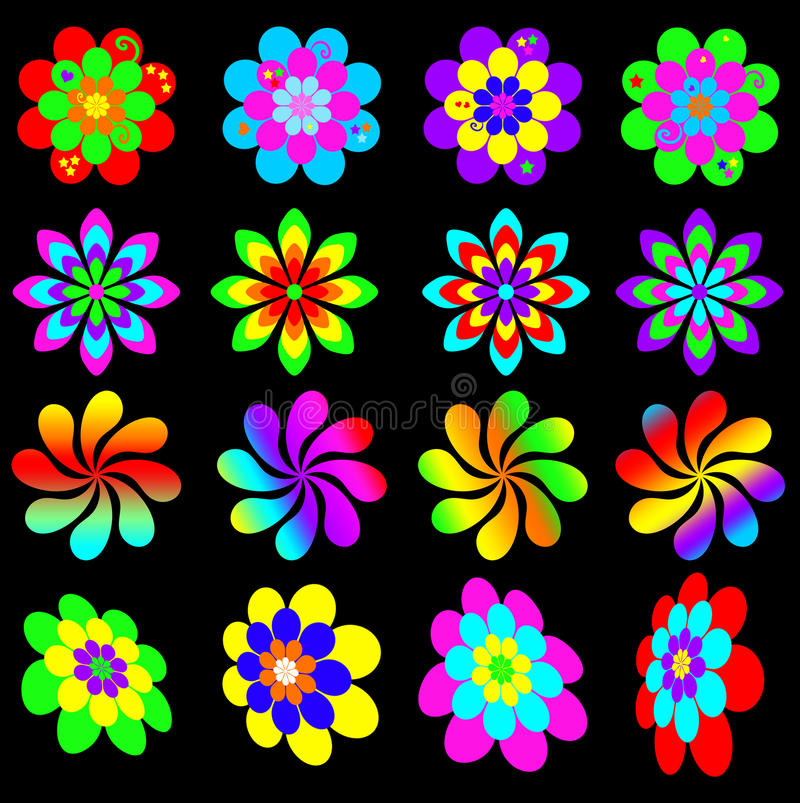 Retro funky flower collection. Collection of funky retro bright and colorful flowers reminiscent of the 60s and 70s vector illustration