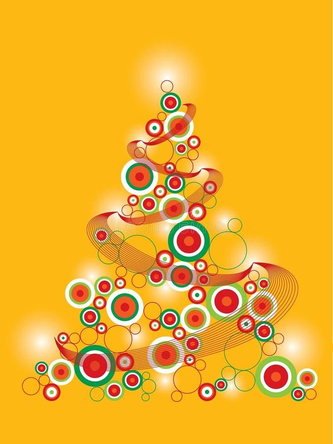Retro funky Kerstmisboom vector illustratie