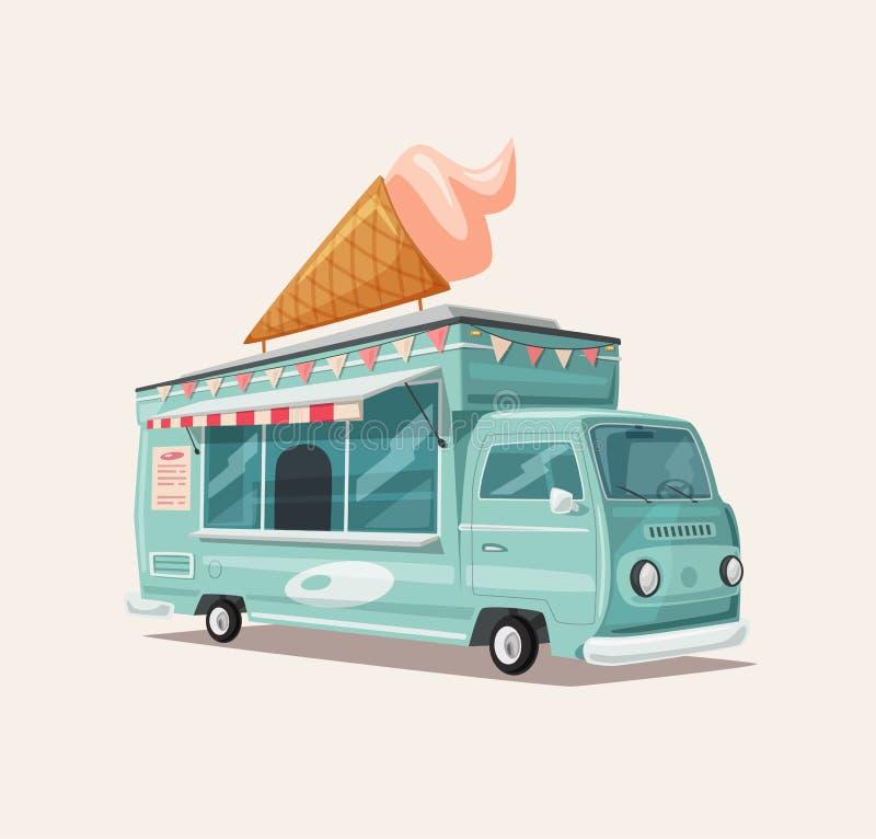 Retro furgone dell'alimento della via Camion d'annata del gelato Illustrazione di vettore del fumetto illustrazione di stock