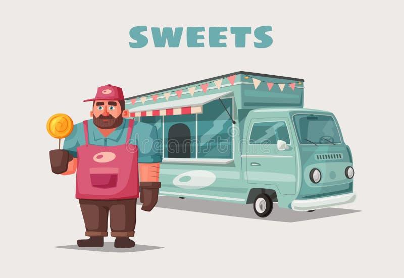 Retro furgone dell'alimento della via Carattere divertente del venditore Illustrazione di vettore del fumetto royalty illustrazione gratis