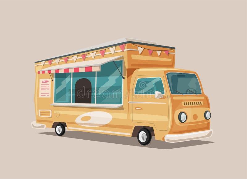 Retro furgone dell'alimento della via Alimento d'annata e camion della bevanda Illustrazione di vettore del fumetto illustrazione vettoriale