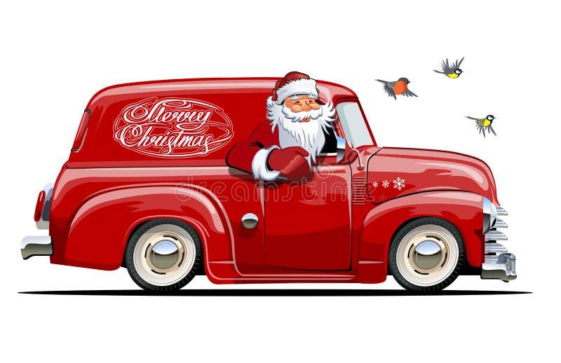 Retro furgone di Natale del fumetto con Santa Claus royalty illustrazione gratis