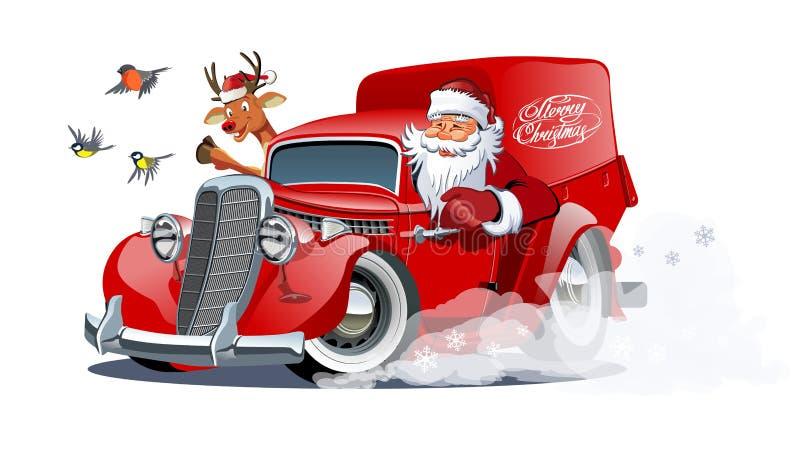 Retro furgone di Natale del fumetto isolato su fondo bianco illustrazione vettoriale