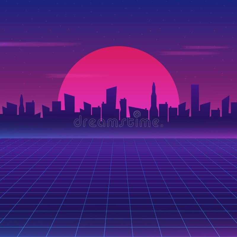 Retro future 80s style sci-fi wallpaper. Futuristic night city. Cityscape on a dark background with bright and glowing neon purple royalty free illustration