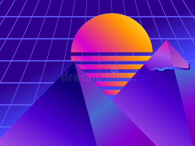 Retro futurism pyramid. Perspective grid. Neon sunset. Synthwave retro background. Retrowave. Vector royalty free illustration