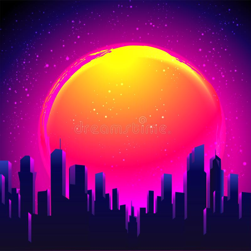Vector futuristic synth wave illustration. 80s Retro poster Background with Night City Skyline. Rave party Flyer design template. Retro Futurism. Vector vector illustration