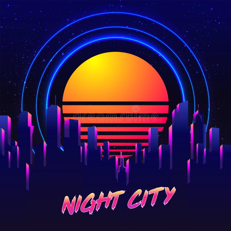 Vector futuristic synth wave illustration. 80s Retro poster Background with Night City Skyline. Rave party Flyer design template. Retro Futurism. Vector stock illustration