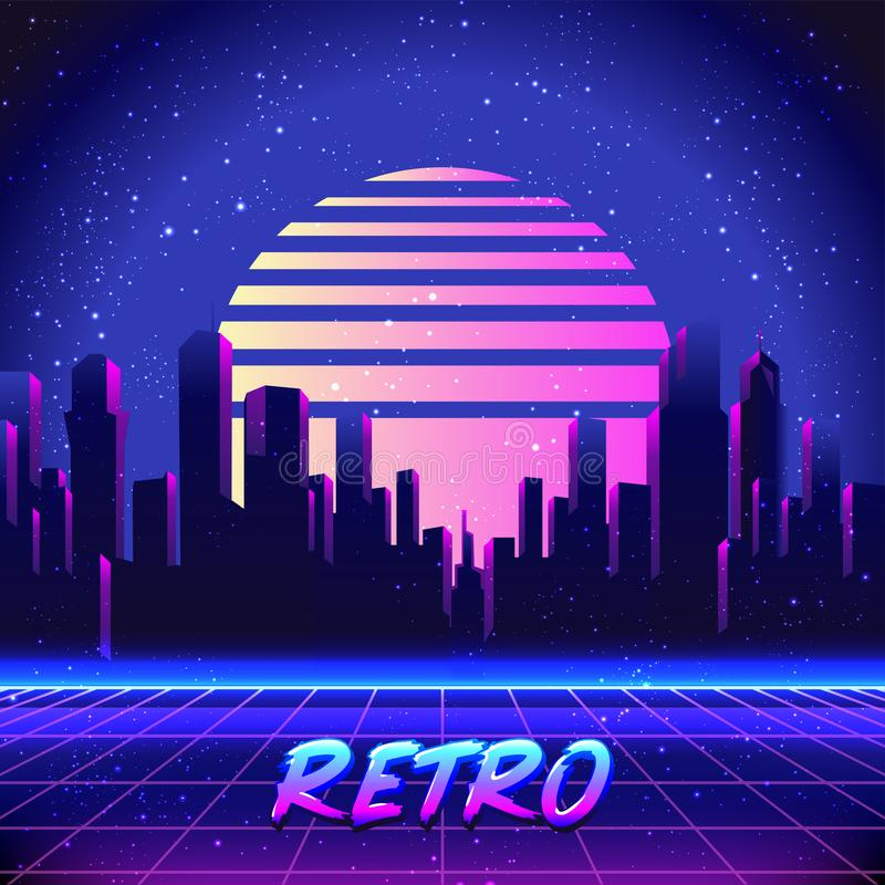 Vector futuristic synth wave illustration. 80s Retro poster Background with Night City Skyline. Rave party Flyer design template. Retro Futurism. Vector royalty free illustration