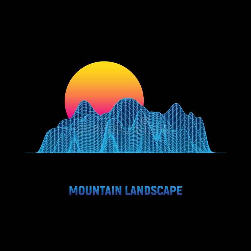 Retro futuristic background. Cyber surface. Mountain landscape with sun. Digital wireframe landscape in 1980s style. vector illustration