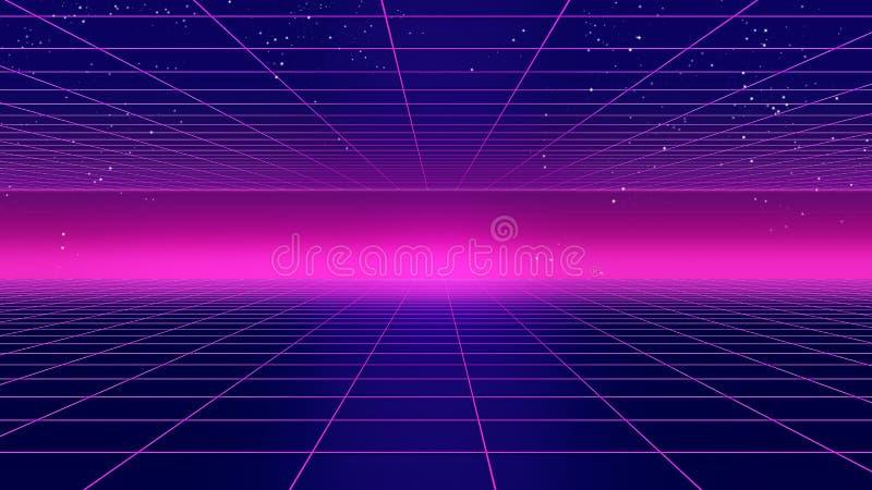 Retro futuristic background 1980s style 3d illustration. vector illustration