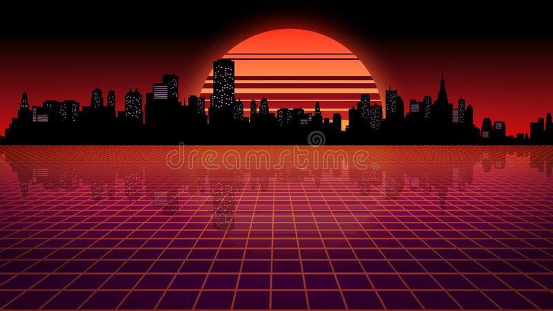 3D rendering retro futuristic background. Virtual space on the background of the stars and the city royalty free illustration