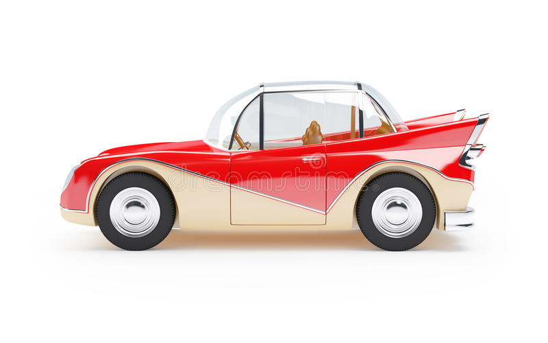 Retro futuristic car 1960 side. Red retro futuristic car from sixties in cartoon style, side view stock illustration