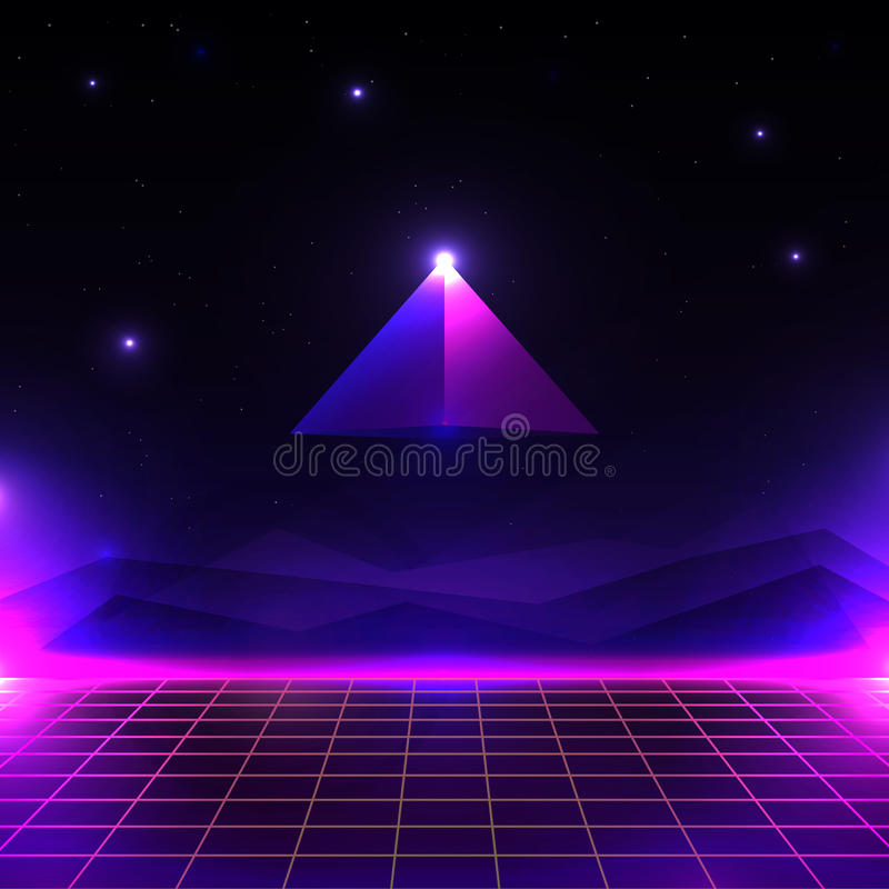 Retro futuristic landscape, glowing cyber world with grid and pyramid shape. sci-fi background 80s style. vector illustration