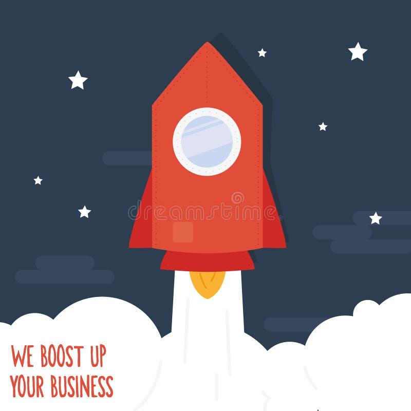 Retro futuristic red spaceship blastoff. stock illustration
