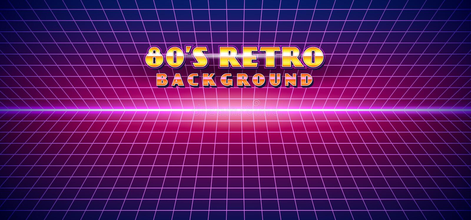 Retro futuristic 1980s style landscape background. 80s Sci-fi Cyber digital space surface grid with bright neon light effect vector illustration