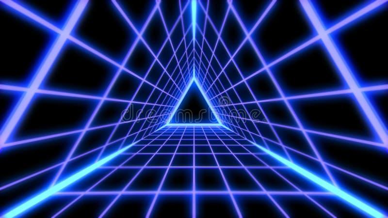 Retro Futuristic 80s Vaporwave Triangle Grid Synthwave Tunnel