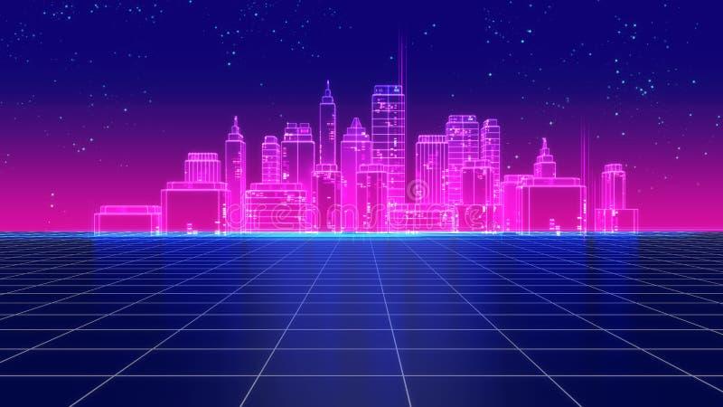 Retro futuristic skyscraper city 1980s style 3d illustration. Digital landscape in a cyber world. For use as music album cover vector illustration