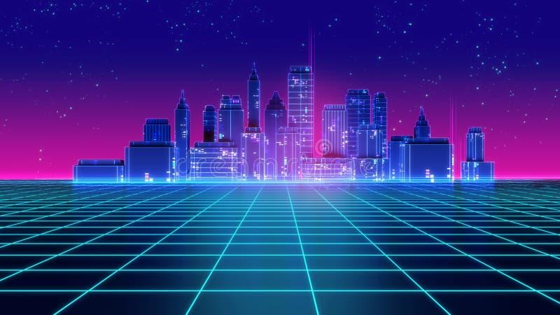Retro futuristic skyscraper city 1980s style 3d illustration. Digital landscape in a cyber world. For use as music album cover stock illustration