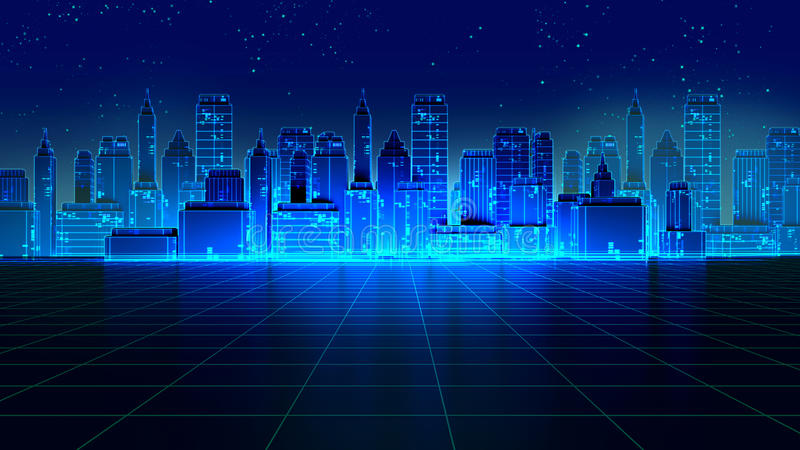 Retro futuristic skyscraper city 1980s style 3d illustration. Digital landscape in a cyber world. For use as music album cover royalty free illustration