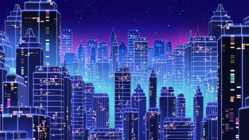 Retro futuristic skyscraper city 1980s style 3d illustration. stock illustration