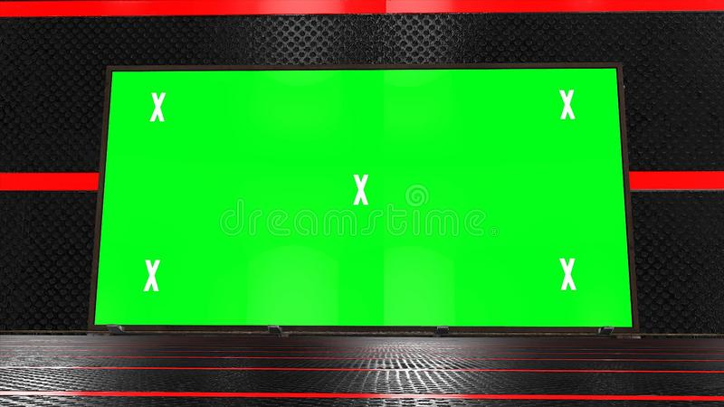 Retro, futuristic stage and blank, green screen billboard for advertisement, message. Chroma key, alpha channel and tracking marke stock photography