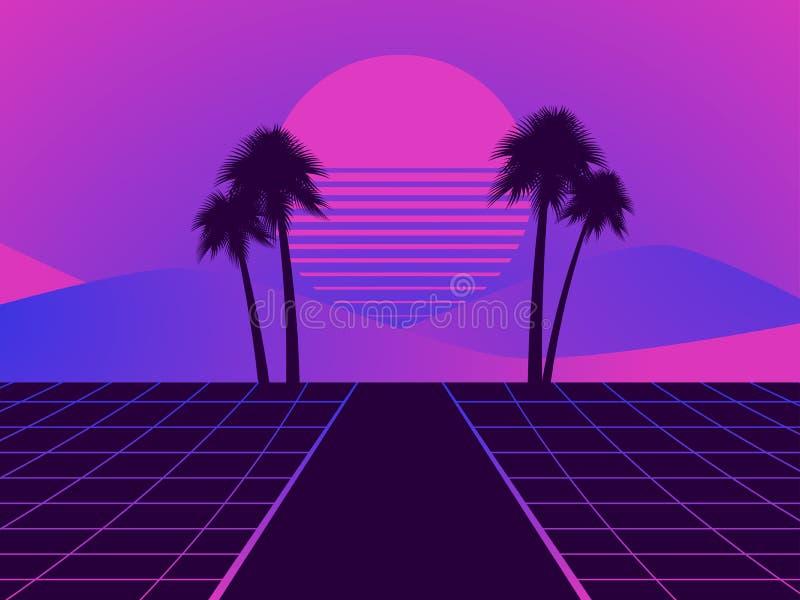 Retro futuristisch landschap met palmen Neonzonsondergang in de stijl van de jaren '80 Synthwave retro achtergrond Retrowave Vect vector illustratie