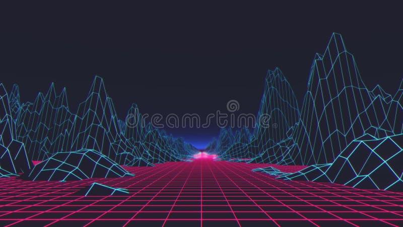 Retro futuristische achtergrond de jaren '80stijl Digitaal landschap in een cyberwereld 3D Illustratie vector illustratie