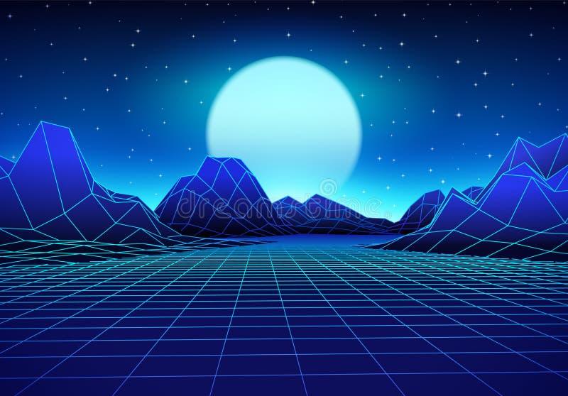 Retro- futuristische Landschaft mit Sonne und glänzendem Gitter lizenzfreie abbildung