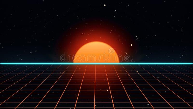 Retro futuristische van het de bandvideospelletje van de jaren '80vhs van het introlandschap 3d illustratie stock illustratie