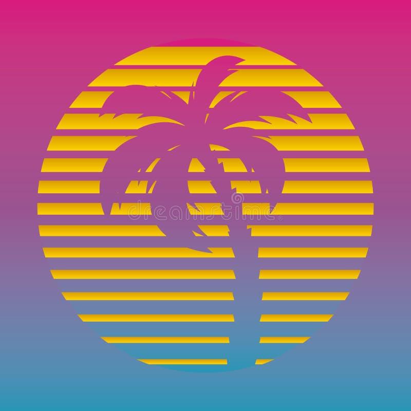 Retro futuristisk bakgrunds80-talstil Digital palmträd på ett cyberhav i datorvärlden Retro räkning för vågmusikalbum royaltyfri illustrationer