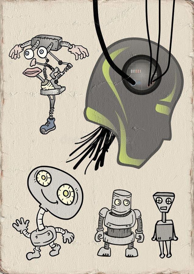Retro futuristisk robotillustration vektor illustrationer