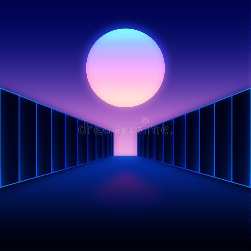 Retro futuristiskt digitalt landskap med månen och mörkerkorridoren royaltyfri illustrationer