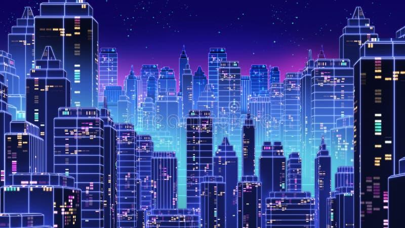 Retro futurystyczni drapacza chmur miasta 1980s projektują 3d ilustrację ilustracji