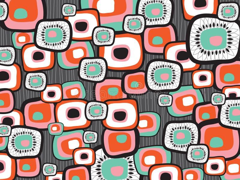 retro fyrkanter för blommalava vektor illustrationer