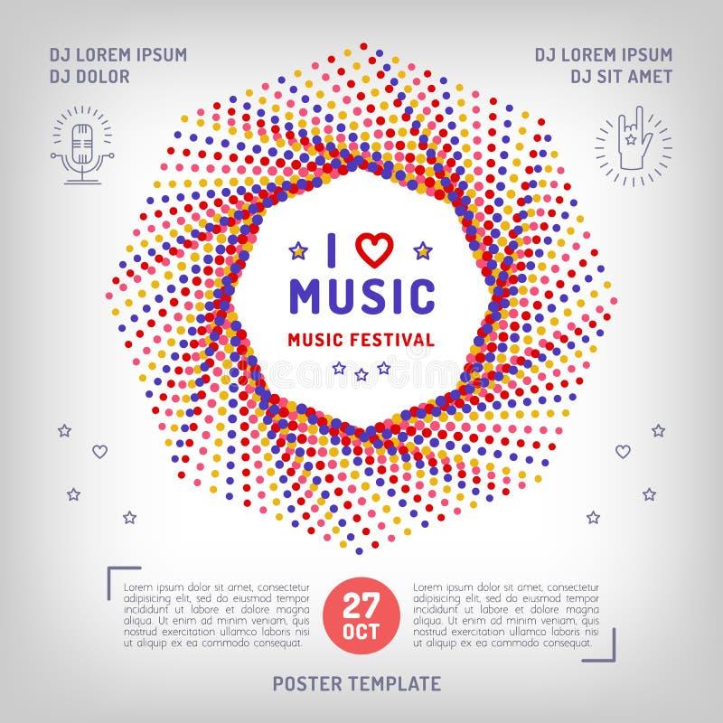 Retro fyrkantigt baner för vektormusik, affisch eller kort, musikalisk collage vektor illustrationer