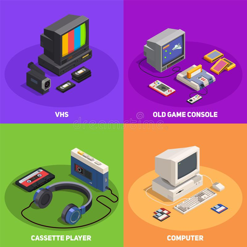 Retro Gadgets 2x2 Isometric Concept stock illustration