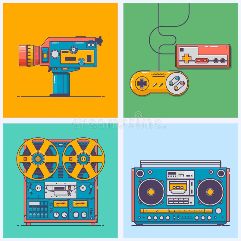 Retro gadgets from 90s in flat line style. Vintage game console, camcorder, tape player,boombox. Game and media tech royalty free illustration