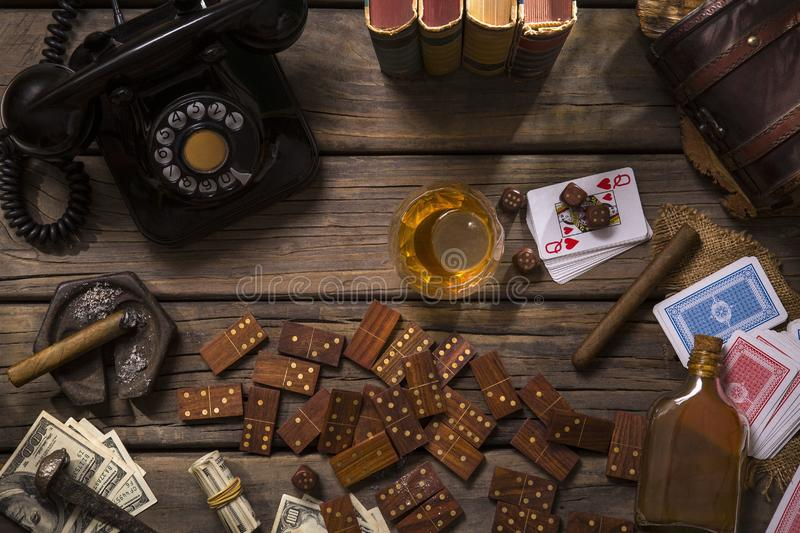 Retro betting table with old telephone royalty free stock photo