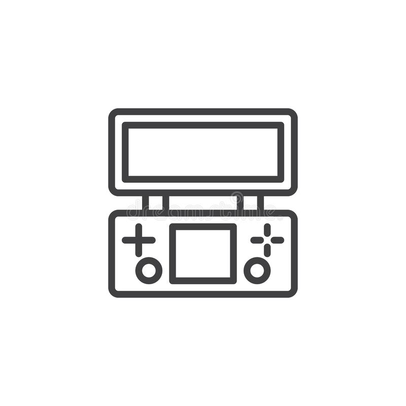 Retro Game Console line icon stock illustration