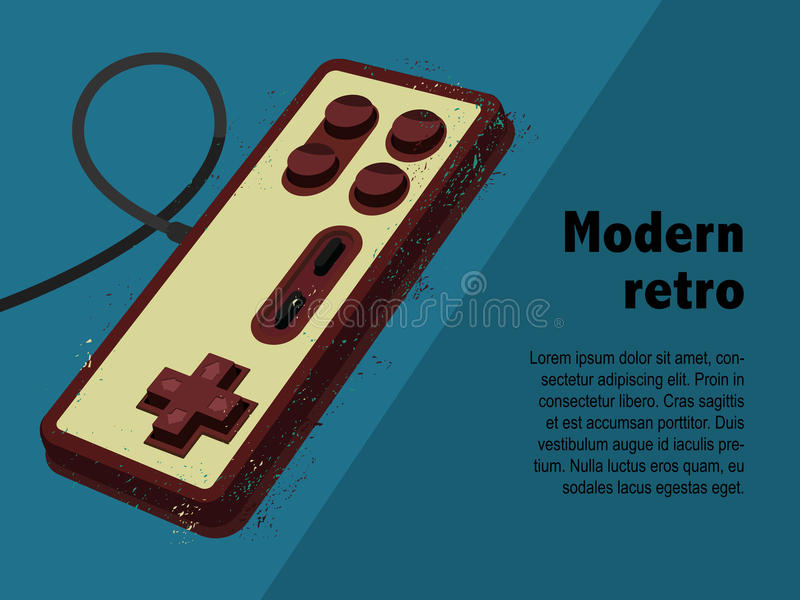 Retro gamepad in old poster style royalty free stock photos