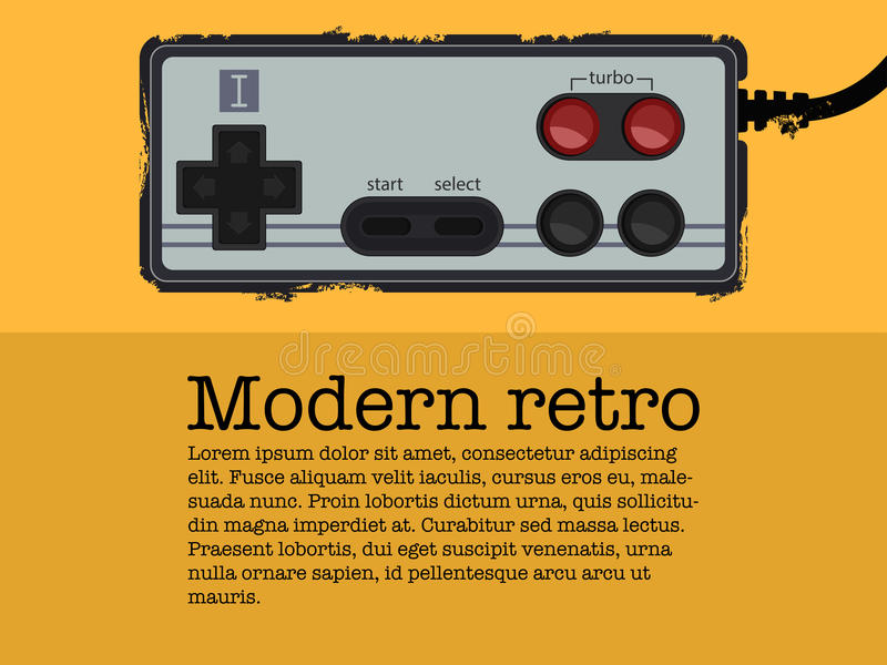 Retro gamepad in old poster style royalty free stock photography