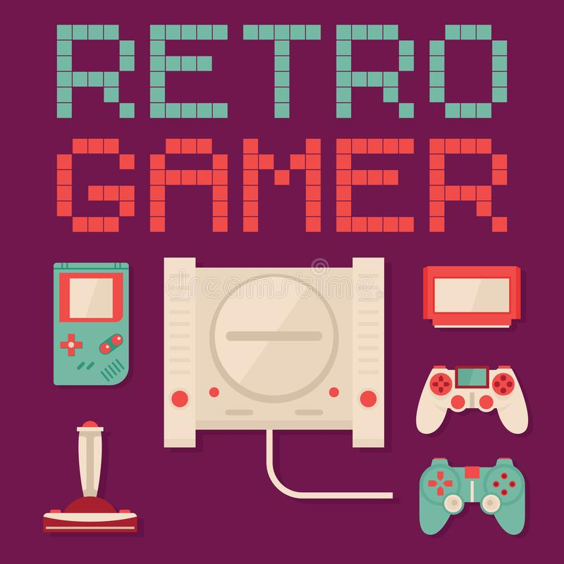 Retro Gamer flat vector concept royalty free stock image