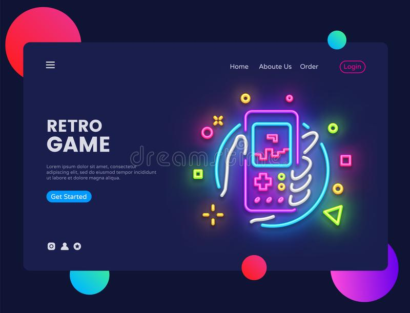Retro Games website concept banner Vector design template. Retro Game light banner in neon style, Retro geek gaming royalty free illustration