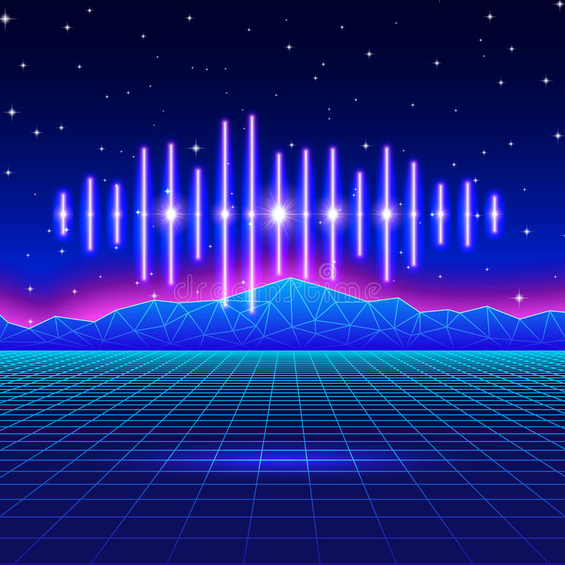 Retro gaming neon background with shiny music wave royalty free illustration
