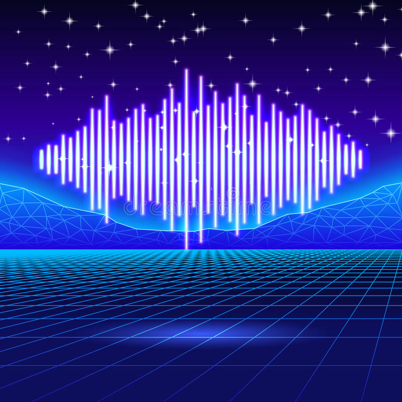 Retro gaming neon background with shiny music wave vector illustration