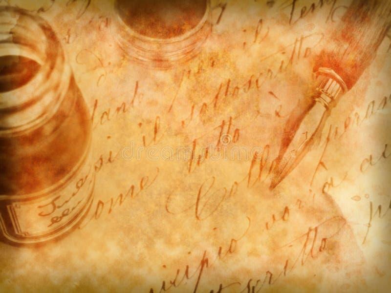 retro gammal penna för bakgrundscalligraphy royaltyfri illustrationer