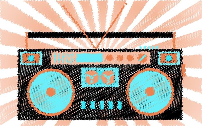 Retro gammalt, tappning, hipster, musikal, kassettljudsignalregistreringsapparat Boombox målade med streckade linjer mot bakgrund vektor illustrationer