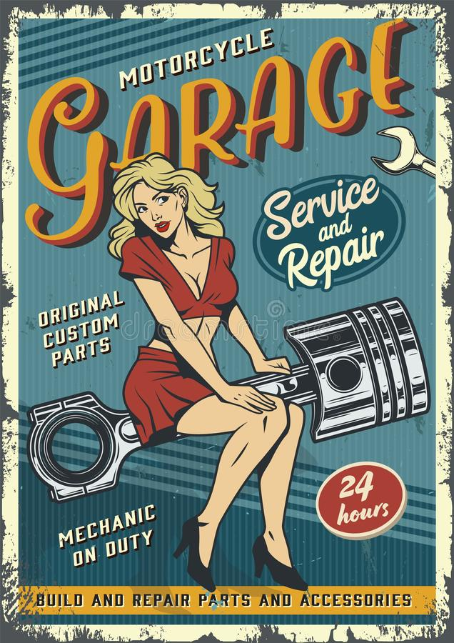 Retro garage service colorful poster. With pin up blonde woman sitting on engine piston in vintage style vector illustration royalty free illustration