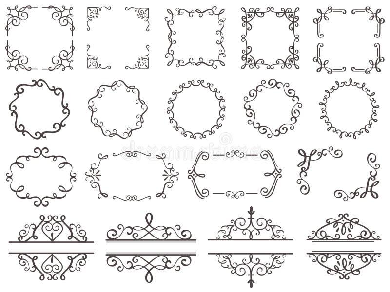 Retro garneringramar Tappningfiligranvirvlar gränsar, den eleganta dekorativa ramen och utsmyckade avdelarklassikerbeståndsdelar stock illustrationer